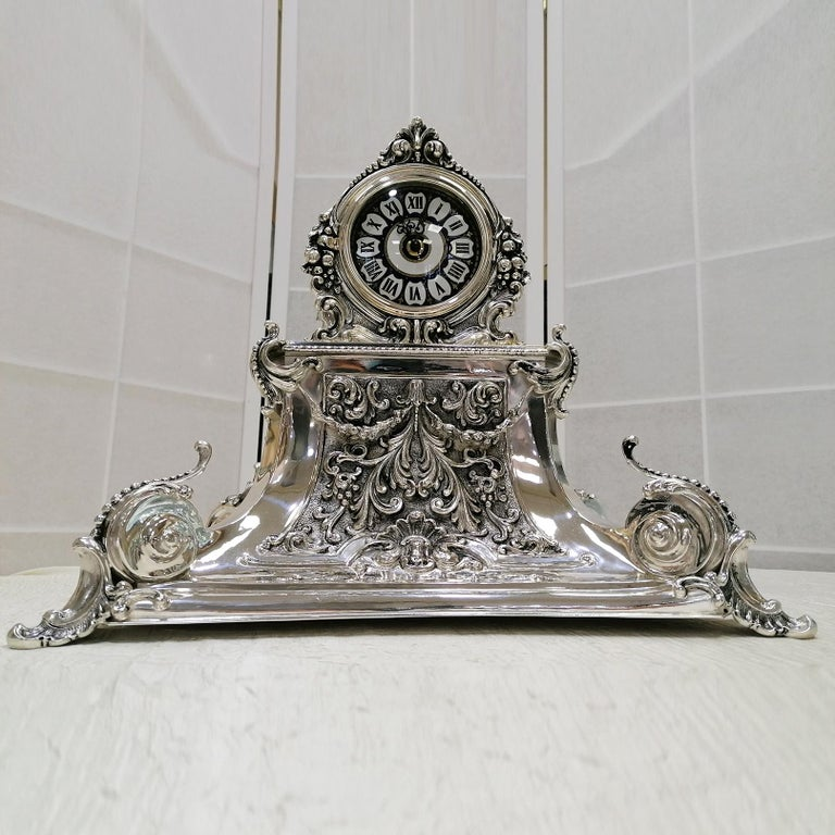 Engraved 20th Century Italian Silver Table Clock Barocco revival  For Sale