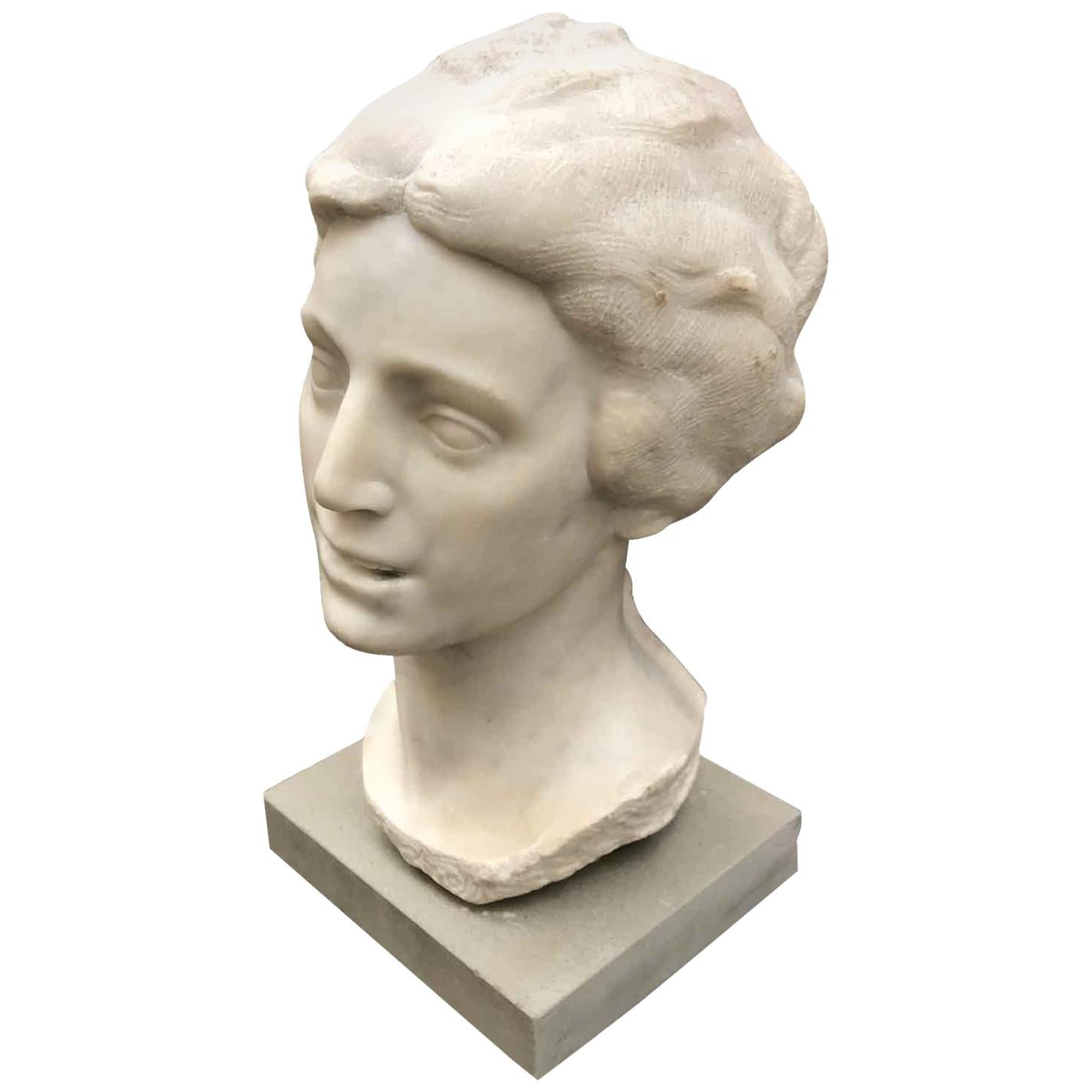 20th Century Italian Smiling Girl Bust White Marble Sculpture by Bossi Aurelio