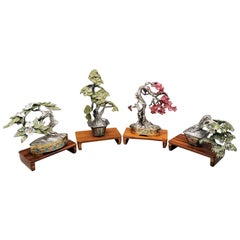 20th Century Italian Solid 800 Silver 4-Piece Collection Bonsai Miniatures