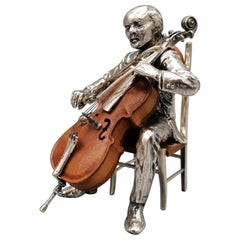 20th Century Italian Solid Silver and Briar Cello Player with Chair
