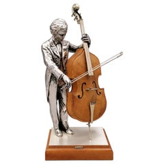 20th Century Italian Solid Silver and Briar Double Bass Player