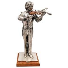 20th Century Italian Solid Silver and Briar Violin Player