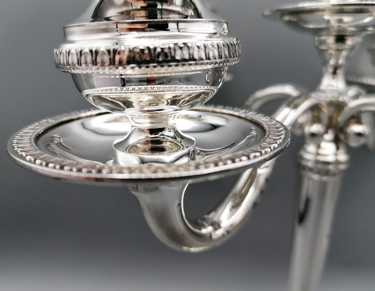 20th Century Italian Solid Silver Empire Style 5 Lights Candelabra For Sale 3