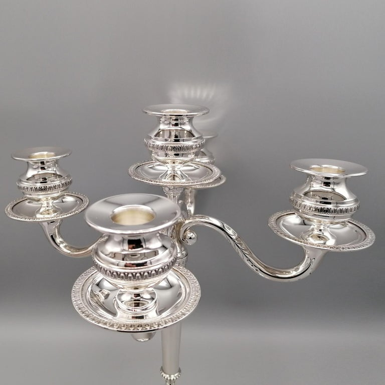 20th Century Italian Solid Silver Empire Style 5 Lights Candelabra For Sale 4