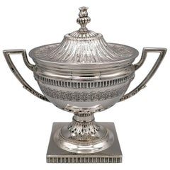 20th Century Italian Solid Silver Empire Style Sugar Bowl on Feet