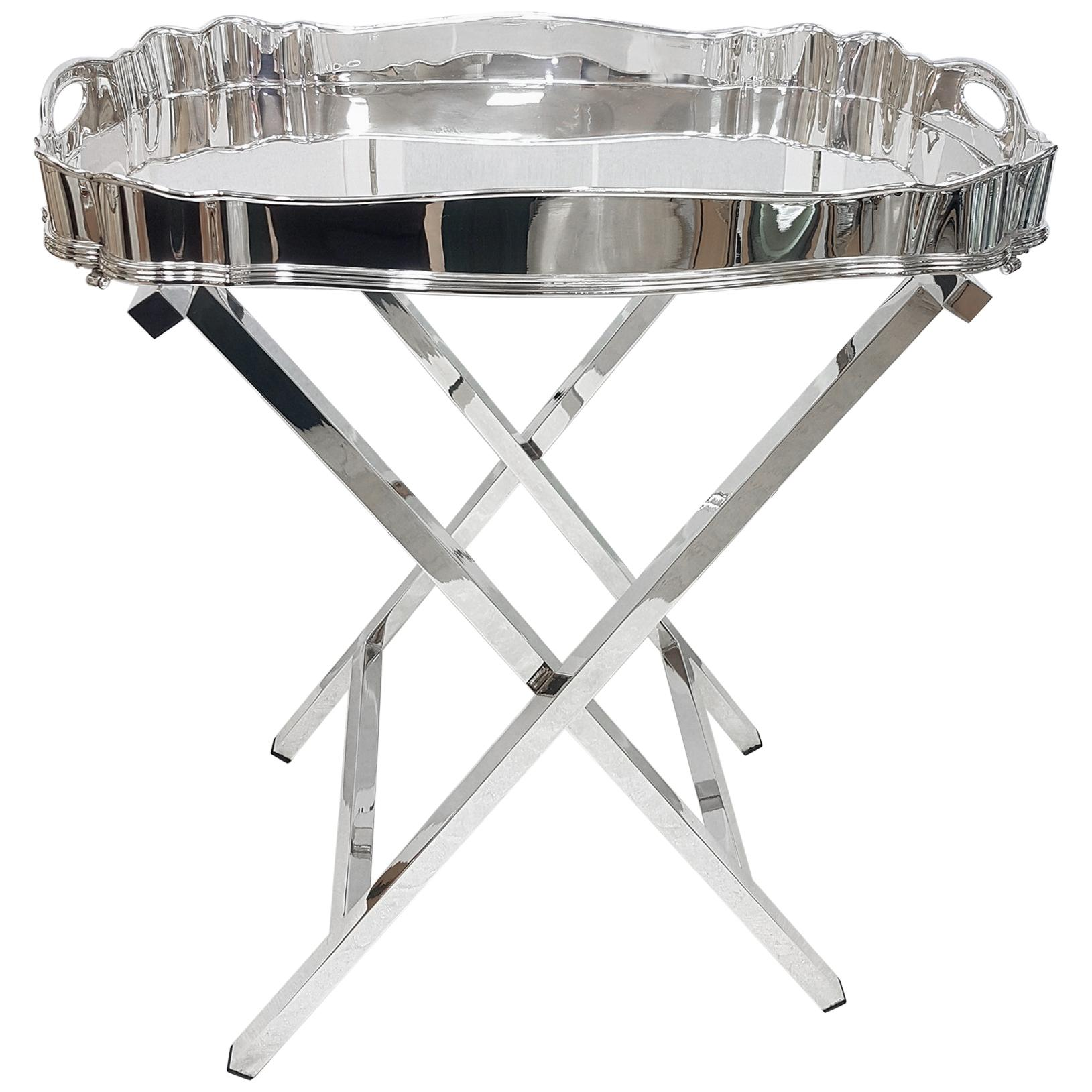 20th Century Italian Solid Silver Gallery Tray on Silver Stand