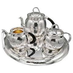 20th Century Italian Solid Silver Hammered Teaset