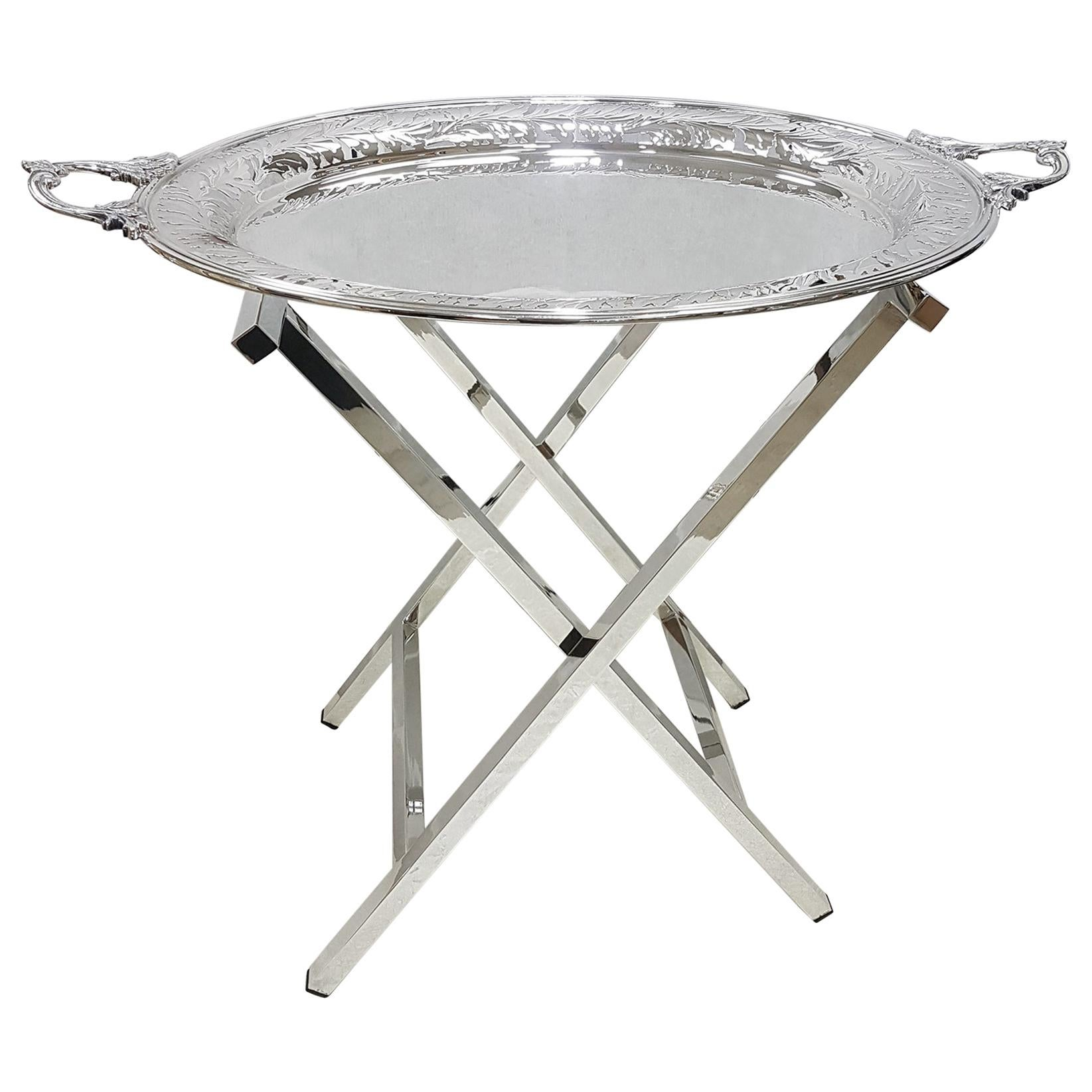 20th Century Italian Solid Silver Tray on Silver Stand