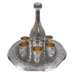 20th Century Italian Solid Silver Wine Set with Tray, Bottle End Six Beakers