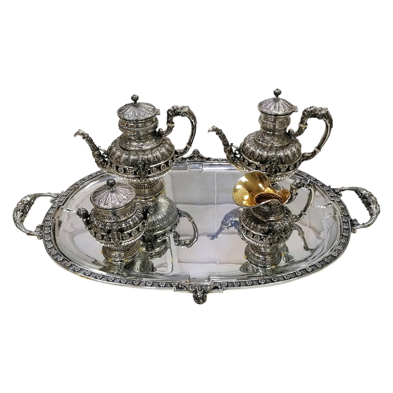 20th Century Italian Solid Sterling Silver Tea, Coffeset with Tray