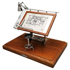 20th century Italian Sterlig Silver and Walnut Roots Miniature Drafting Machine