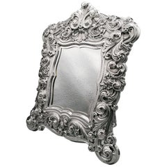 20th Century Italian Sterling Silver Baroque Style Table Mirror