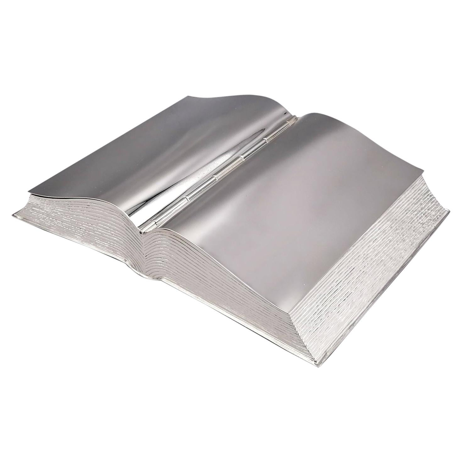 20th Century Italian Sterling Silver Box Book Shape