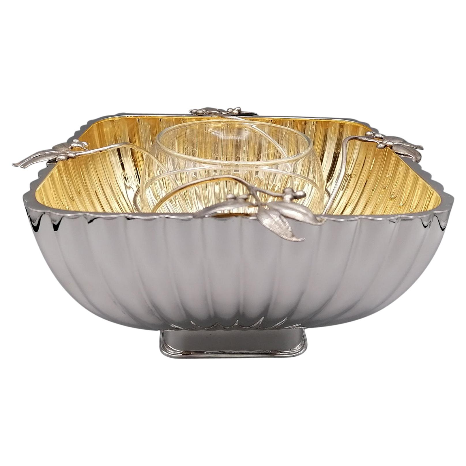 20th Century Italian Sterling Silver Caviar Bowl