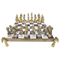 20th Century Italian Sterling Silver Chess Board, Chess Game Red Jasper, Marble