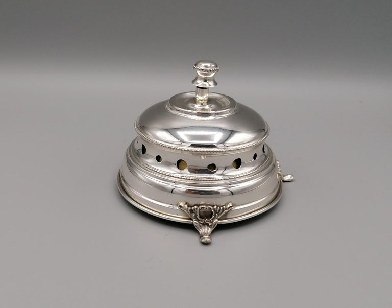 Hand-Crafted 20th Century Italian Sterling Silver Desk Bell For Sale