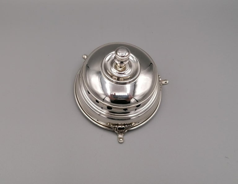 20th Century Italian Sterling Silver Desk Bell In Excellent Condition For Sale In VALENZA, IT