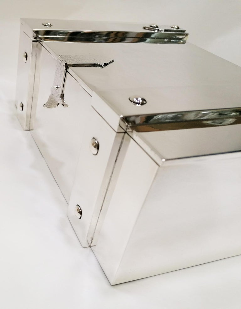 20th Century Italian Sterling Silver Jewelry Casket Box with Hinged Closure For Sale 5