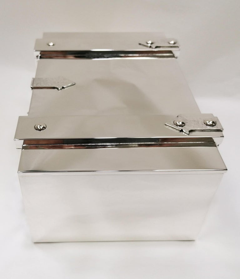 20th Century Italian Sterling Silver Jewelry Casket Box with Hinged Closure For Sale 6
