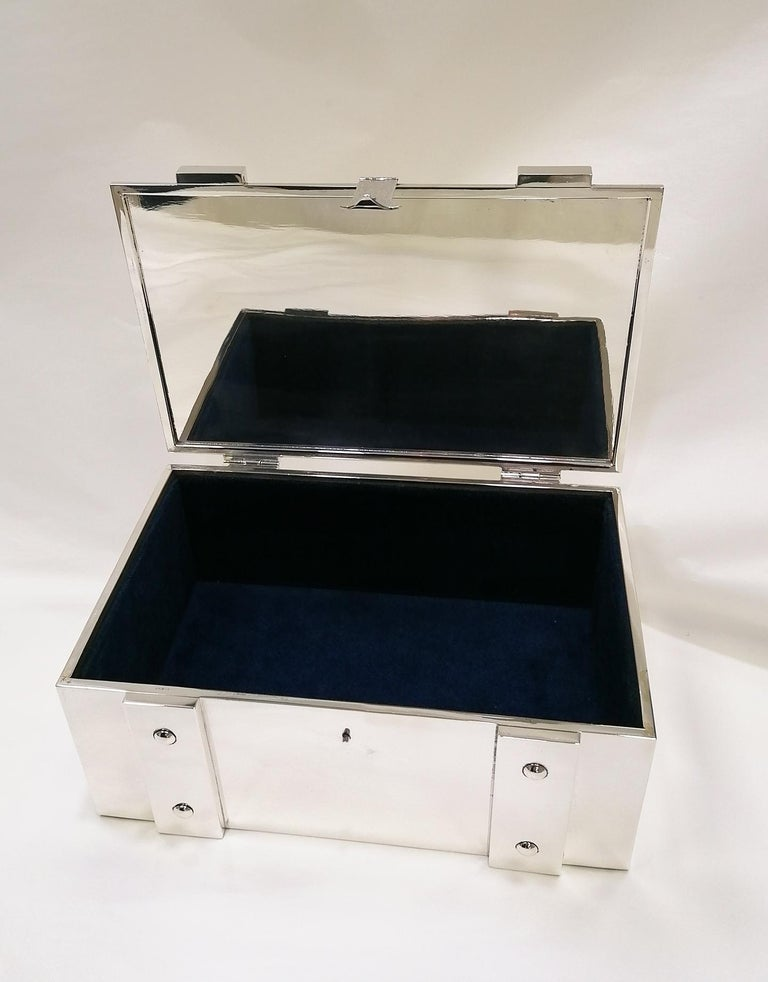 Other 20th Century Italian Sterling Silver Jewelry Casket Box with Hinged Closure For Sale