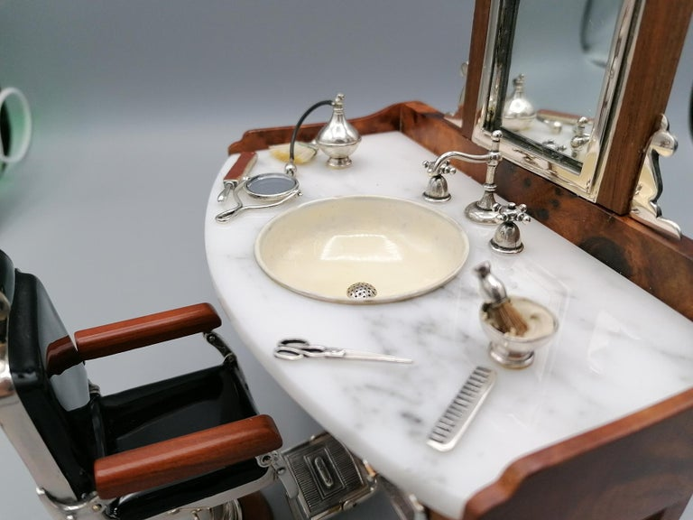 20th Century Italian Sterling Silver Miniature Barber Shop For Sale 4