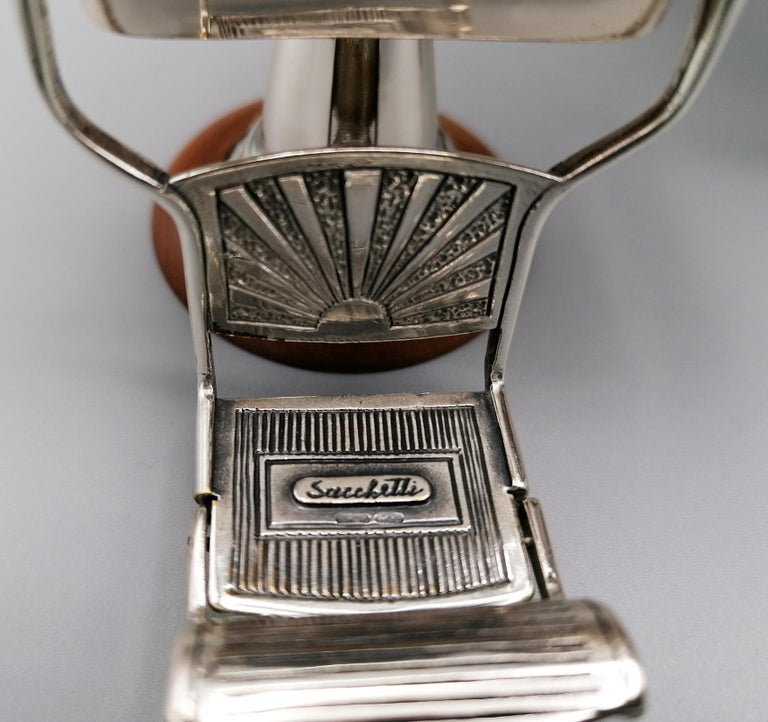 20th Century Italian Sterling Silver Miniature Barber Shop For Sale 5