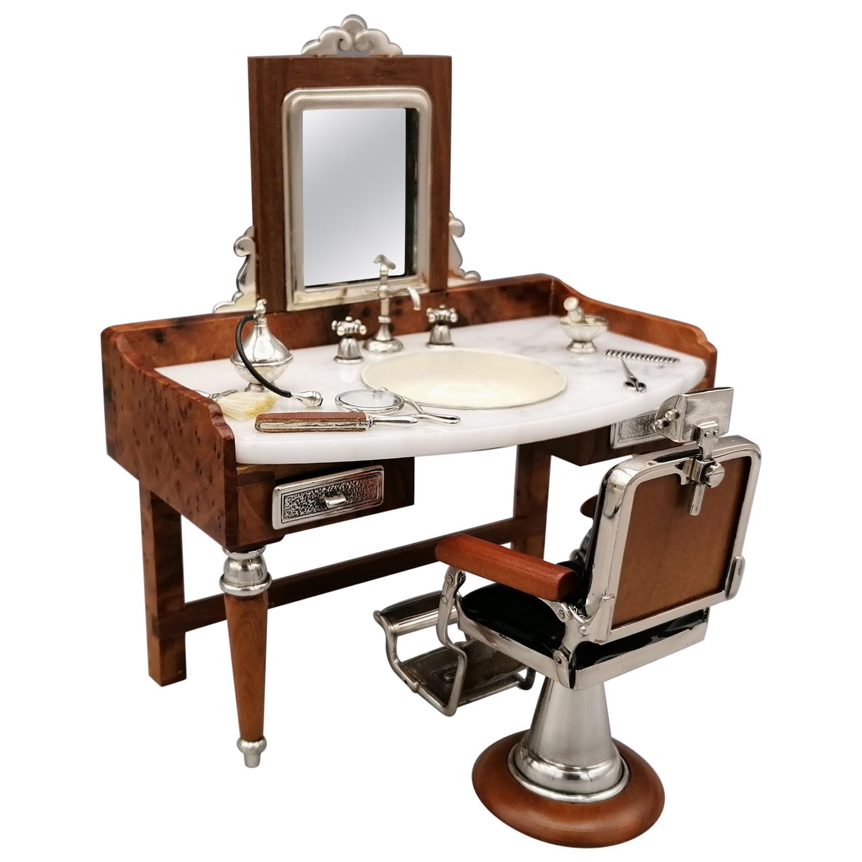 20th Century Italian Sterling Silver Miniature Barber Shop