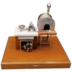 20th Century Italian Sterling Silver Miniature Depicting a Pizza Chef's Station