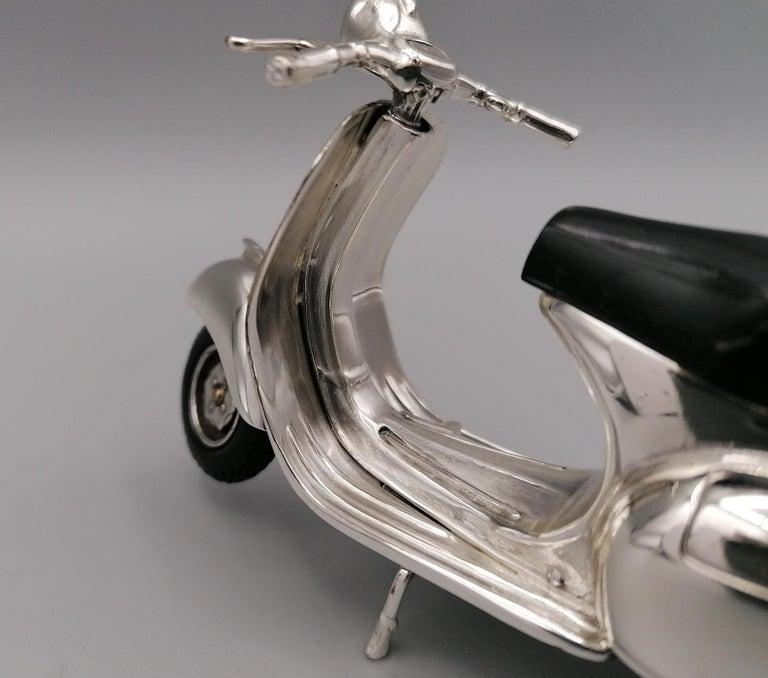 20th Century Italian Sterling Silver Miniature of Vespa Piaggio GS150 For Sale 4