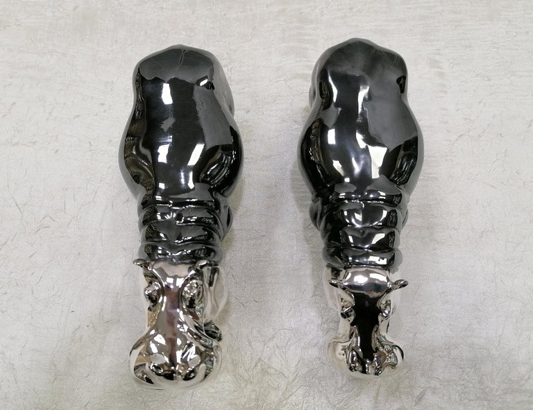 20th Century Italian Sterling Silver Pair of Shiny and Burnished Hippos For Sale 5
