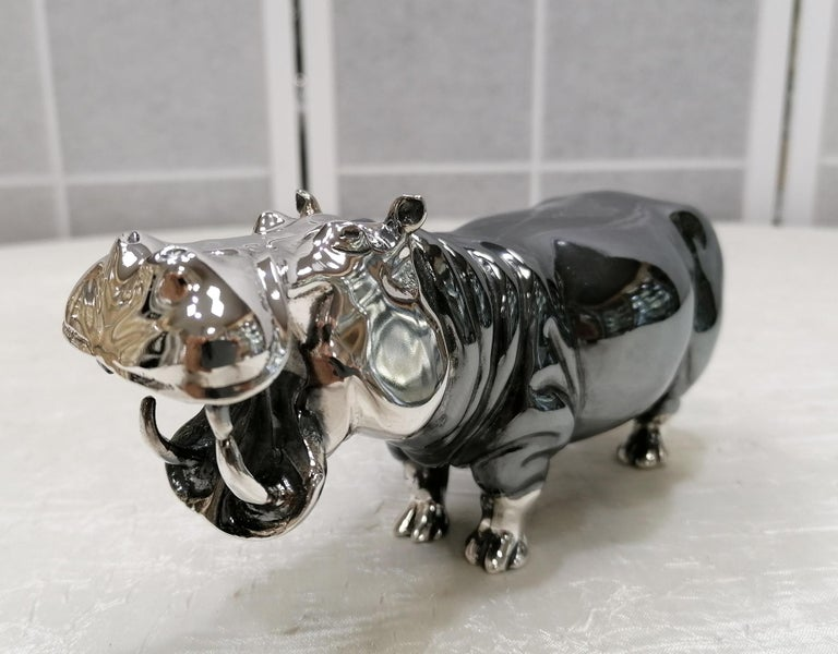Other 20th Century Italian Sterling Silver Pair of Shiny and Burnished Hippos For Sale