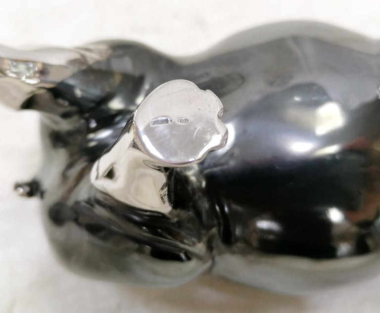 20th Century Italian Sterling Silver Pair of Shiny and Burnished Hippos For Sale 3