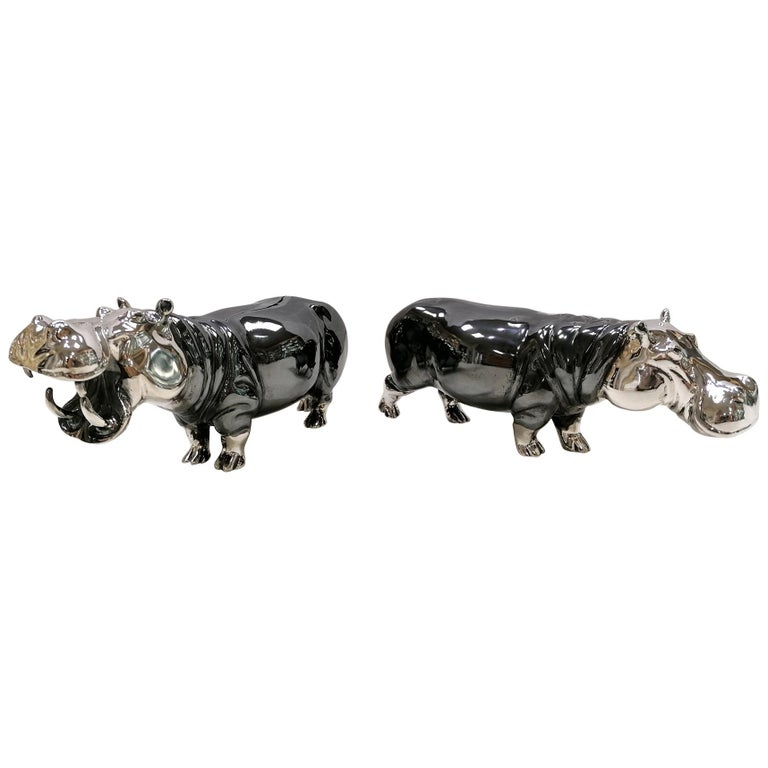 20th Century Italian Sterling Silver Pair of Shiny and Burnished Hippos For Sale