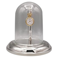 20th Century Italian Sterling Silver Pocket Watch Stand with Glass Bell