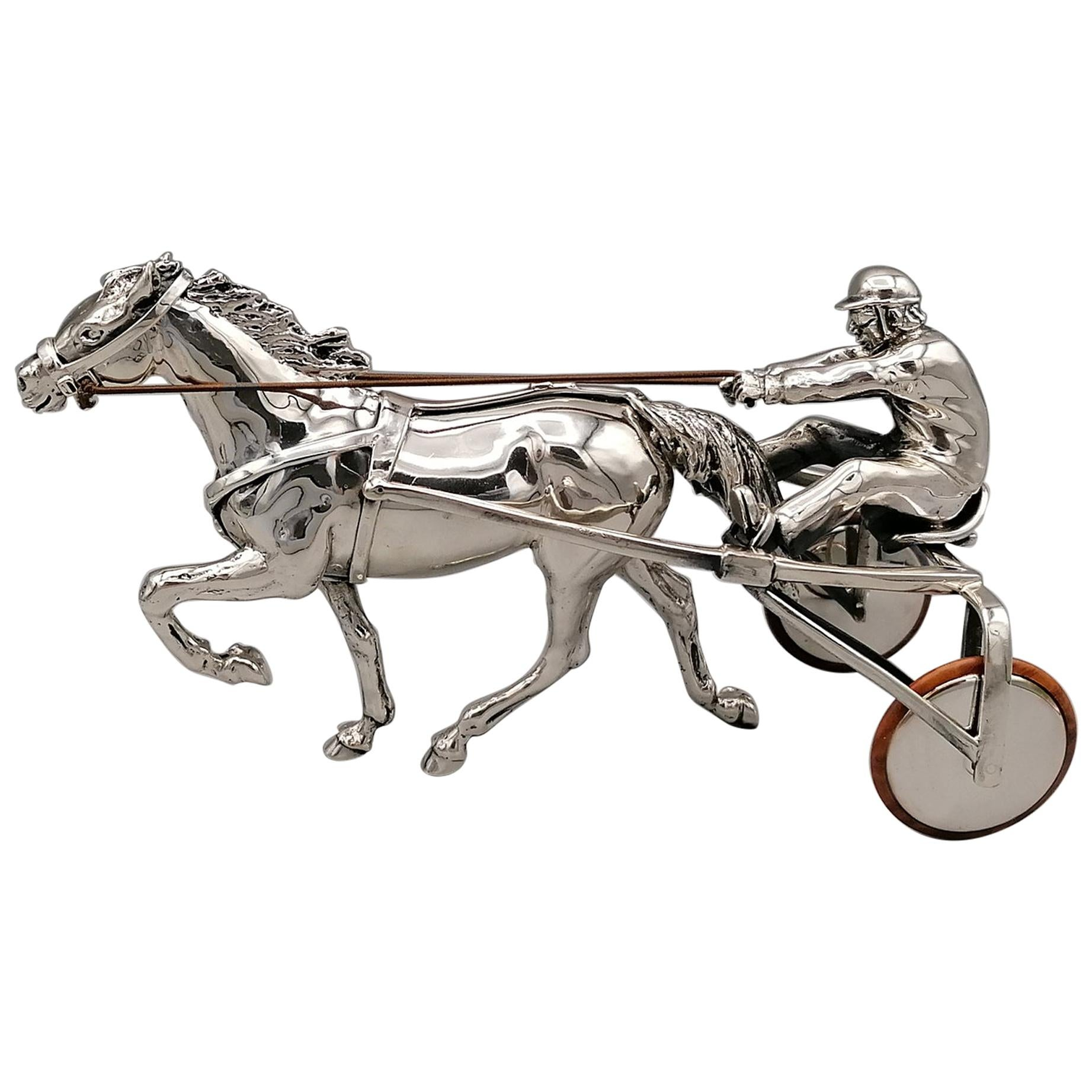 20th Century Italian Sterling Silver Sulky with Horse and Driver