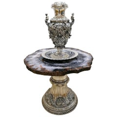 20th Century Italian Sterling Silver Table with Silver Vase and Matching Dish