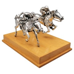 20th Century Italian Sterling Silver Two Galloping Horses with Jockey