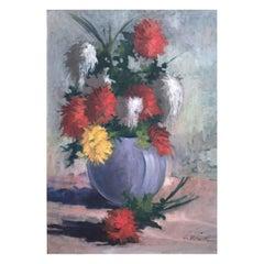 20th Century Italian Still Life of Flowers in Blue Vase by Marini Giovanni