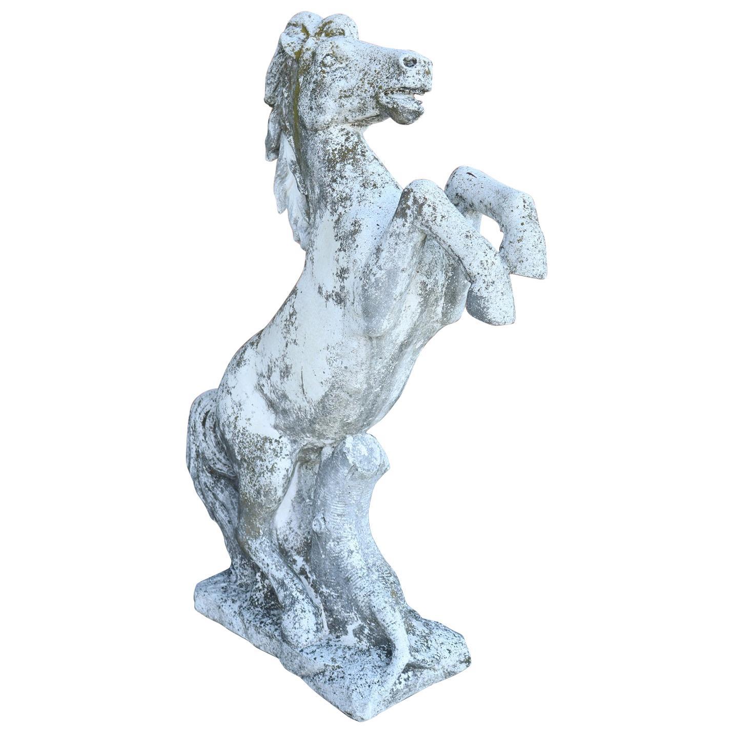20th Century Italian Stone Garden Horse Statue