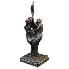20th Century Italian Symbolist Three Graces Bronze Sculpture