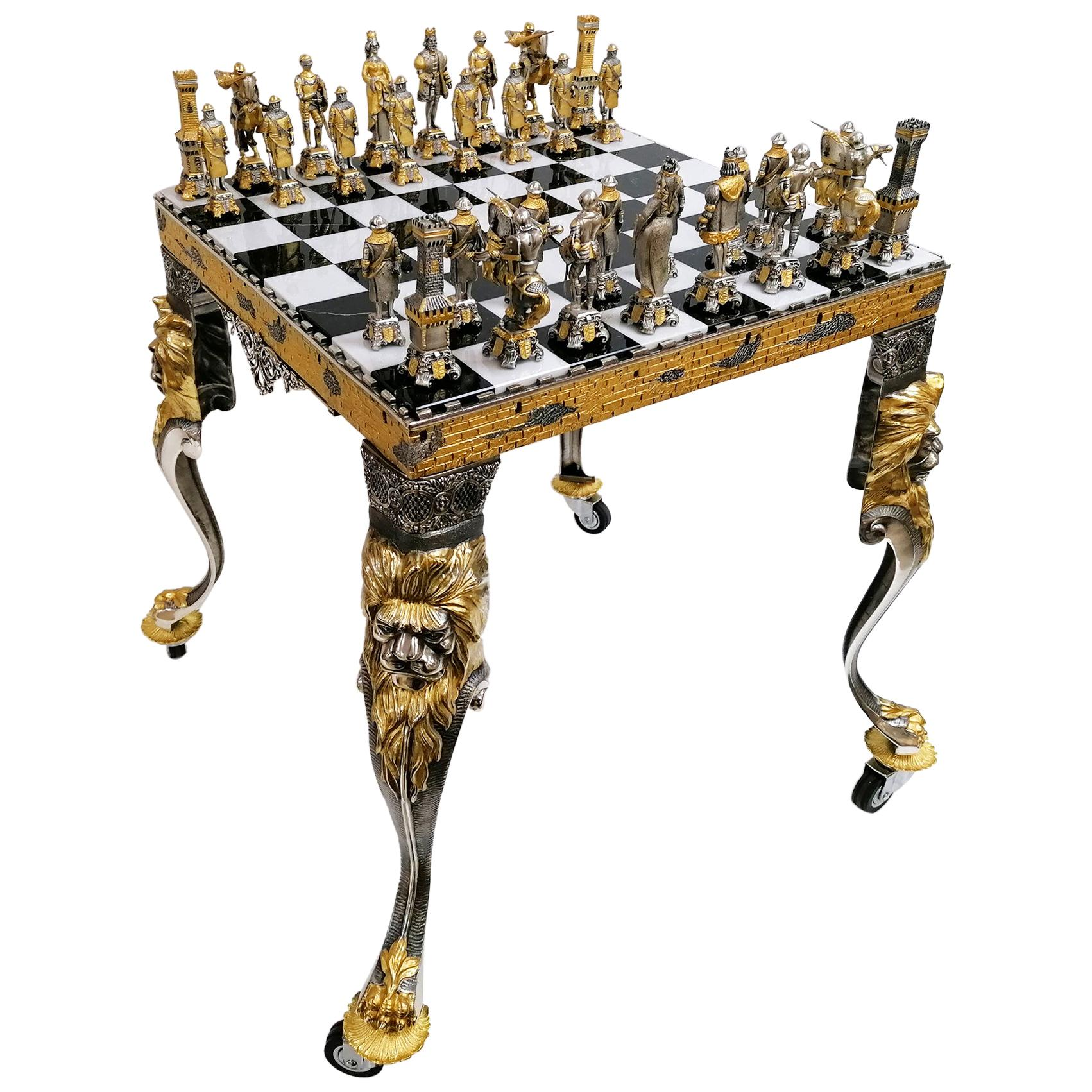 20th Century Italian Table, Chess Board with Chess Game
