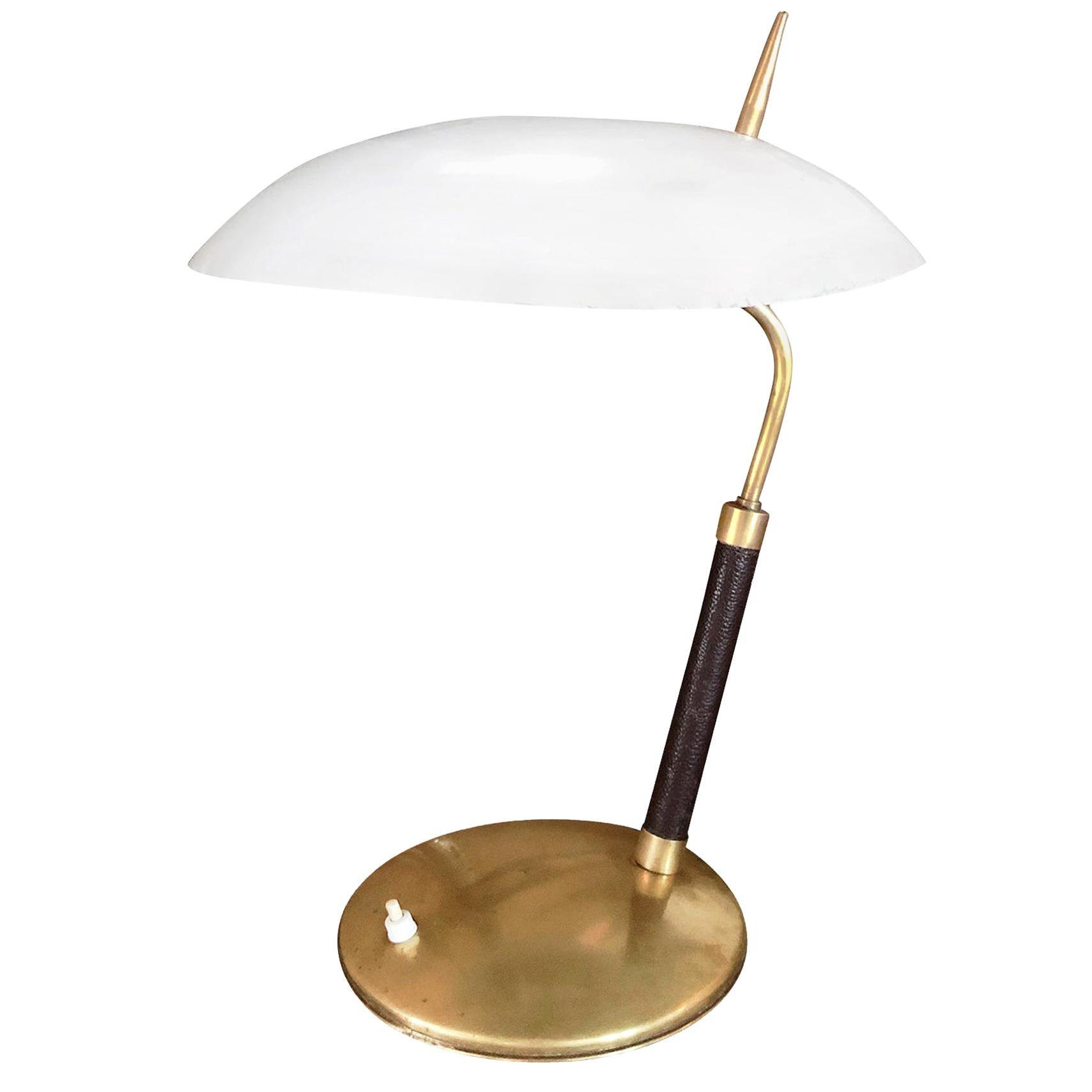 20th Century White Italian Leather Table Lamp - Brass Light by Stilnovo