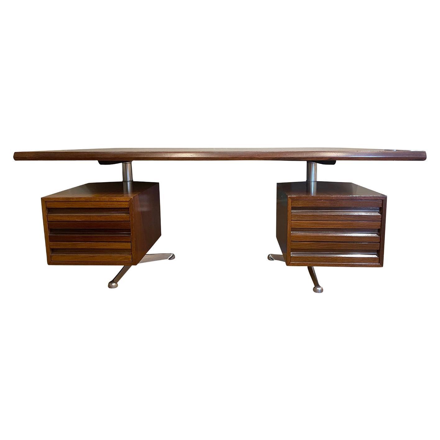 20th Century Italian Tecno Rosewood Writing Table, Desk by Osvaldo Borsani