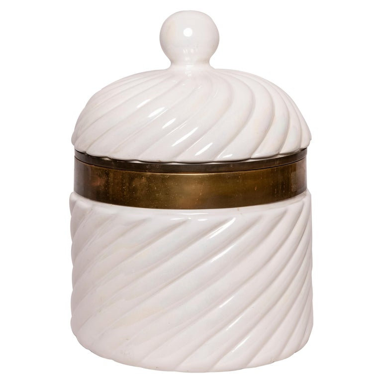 20th Century Italian Tommaso Barbi Porcelain Ice Bucket For Sale