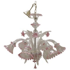 20th Century Italian Transparent and Pink Murano Glass Large Chandelier