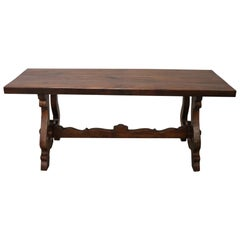 20th Century Italian Tuscan Large Fratino Dining Room Table in Solid Oakwood