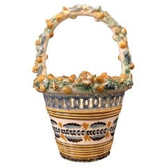 20th Century Italian Tuscan Vase Basket with Fishes Shells