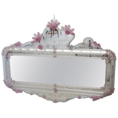 20th Century Italian Venetian Artistic Murano Glass Large Wall Mirror