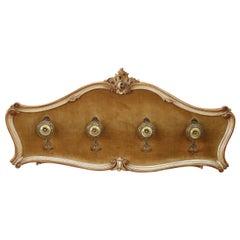 20th Century Italian Venetian Baroque Style Lacquered Wood Wall Coat Rack