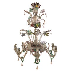 20th Century Italian Venetian Eight-Light Chandelier with Floral Sprays, 1940s